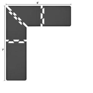 PuzzlePiece 2-Ft. L-Series Black 7x6 Premium Anti-Fatigue Mat