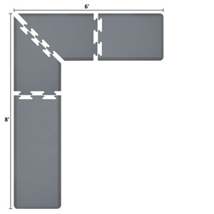 PuzzlePiece 2-Ft. L-Series Grey 8x6 Premium Anti-Fatigue Mat
