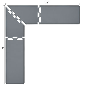 PuzzlePiece 2-Ft. L-Series Grey 8x7.5 Premium Anti-Fatigue Mat