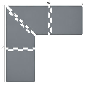 PuzzlePiece 3-Ft. L-Series Grey 7.5x7.5 Premium Anti-Fatigue Mat