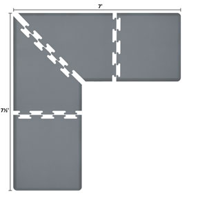 PuzzlePiece 3-Ft. L-Series Grey 7.5x7 Premium Anti-Fatigue Mat