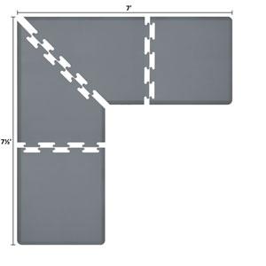 PuzzlePiece 3-Ft. L-Series Grey 7.5x7 Premium Anti-Fatigue Mat