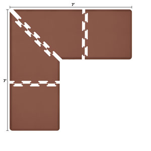 PuzzlePiece 3-Ft. L-Series Brown 7x7 Premium Anti-Fatigue Mat