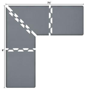 PuzzlePiece 3-Ft. L-Series Grey 8x7.5 Premium Anti-Fatigue Mat