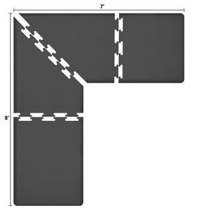 PuzzlePiece 3-Ft. L-Series Black 8x7 Premium Anti-Fatigue Mat