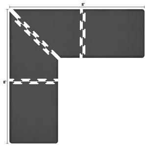 PuzzlePiece 3-Ft. L-Series Black 8x8 Premium Anti-Fatigue Mat