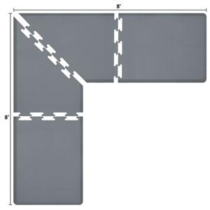 PuzzlePiece 3-Ft. L-Series Grey 8x8 Premium Anti-Fatigue Mat