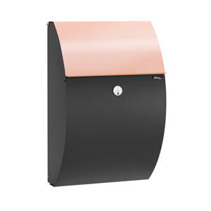 Allux Series Black Allux 7000 Wall Mounted Locking Mailbox with Copper Incoming Mail Flap