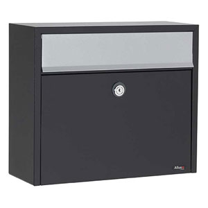 Allux Series Black LT150 Wall Mounted Locking Mailbox with Gray Flap