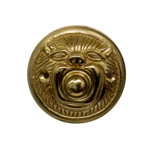 Whimsical Polished Brass Animal Face Round Doorbell Button Cover
