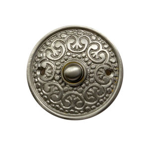 Ornate Satin Nickel Round Doorbell Button Cover