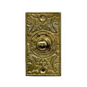 Ornate Polished Brass Rectangle Doorbell Button Cover