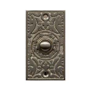 Ornate Satin Nickel Rectangle Doorbell Button Cover
