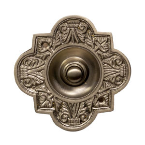 Ornate Satin Nickel Oval Doorbell Button Cover