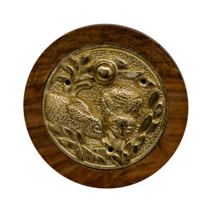 Rabbit Polished Brass Doorbell Button Cover