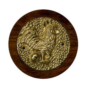 Rooster Polished Brass Doorbell Button Cover