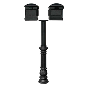 Hanford Black 70-Inch Twin Mailbox Post Mount with Decorative Base