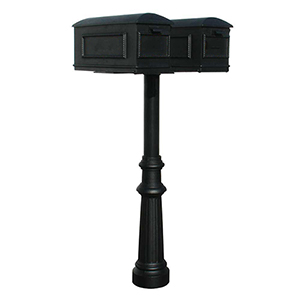 Hanford Black 70-Inch Twin Mailbox Post Mount with Fluted Base