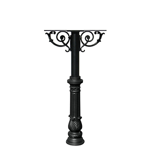 Hanford Black Twin Post Mount Mailbox with Decorative Ornate Base