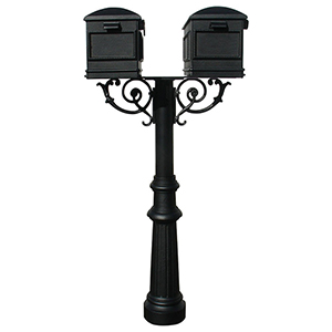 Hanford Black Twin Mailbox Post Mount with Fluted Base