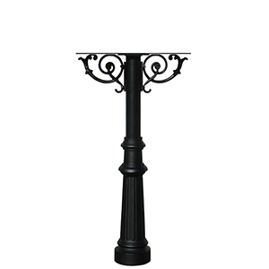 Hanford Black Twin Post Mount Mailbox with Decorative Fluted Base
