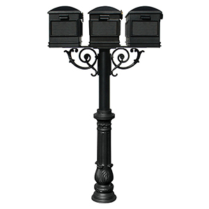 Hanford Black Triple Mailbox Post Mount with Decorative Base