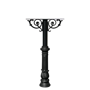 Hanford Black Triple Post Mount Mailbox with Decorative Ornate Base