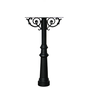 Hanford Black Post For Triple Post Mount Mailbox with Decorative Fluted Base