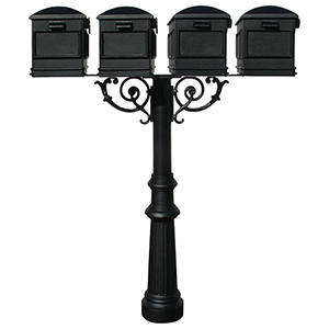 Hanford Black Quad Mailbox Post Mount with Fluted Base