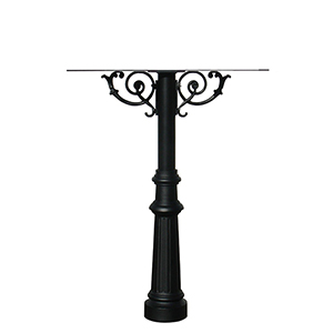 Hanford Black Quad Post Mount Mailbox with Decorative Fluted Base
