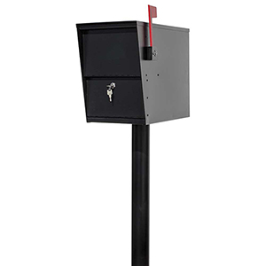 Lettersentry Black Post Mounted Locking Mail and Parcel Box