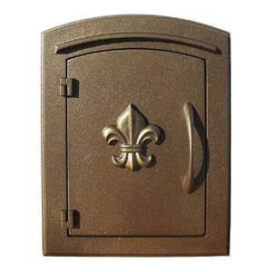 Manchester Bronze Security Option with Decorative Fleur-De-Lis Door Manchester Faceplate