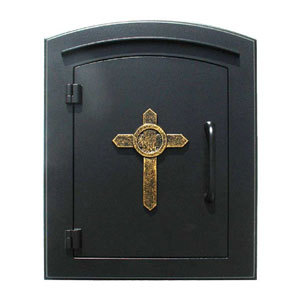 Manchester Black Security Drop Chute Mailbox with Decorative Cross Logo
