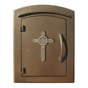 Manchester Bronze Security Drop Chute Mailbox with Decorative Cross Logo