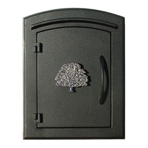 Manchester Black Security Drop Chute Mailbox with Decorative Oak Tree Logo