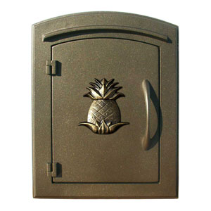 Manchester Bronze Security Drop Chute Mailbox with Decorative Pineapple Logo