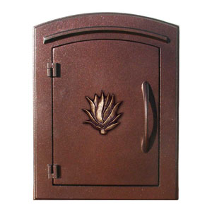Manchester Antique Copper Security Drop Chute Mailbox with Decorative Agave Logo