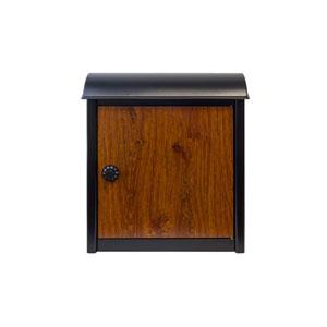 Winfield Leece Black and Wood Wall Mounted Locking Mailbox