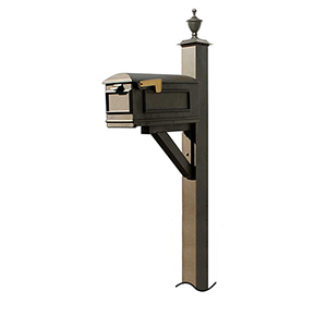 Westhaven Bronze Support Bracket and Urn Finial Mounted Mailbox Post