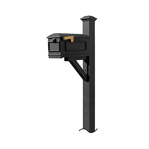 Westhaven Black Support Bracket and Pyramid Finial Mounted Mailbox Post