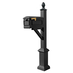 Westhaven Black 56-Inch Square Base and Pineapple Finial Mounted Mailbox Post