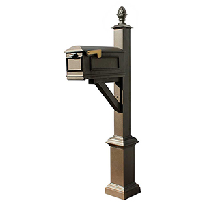 Westhaven Bronze 56-Inch Square Base and Pineapple Finial Mounted Mailbox Post