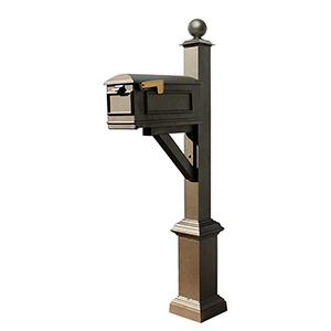 Westhaven Bronze Square Base and Large Ball Finial Mounted Mailbox Post