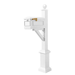 Westhaven White Support Bracket Square Base and Large Ball Finial Mounted Mailbox Post