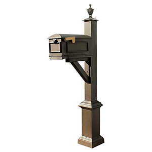 Westhaven Bronze Support Bracket Square Base and Urn Finial Mounted Mailbox Post