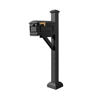 Westhaven Black Mounted Mailbox Post