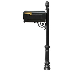 Lewiston Black Mailbox with Post, Ornate Base and Pineapple Finial
