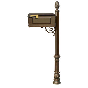 Lewiston Bronze Mailbox with Post, Ornate Base and Pineapple Finial