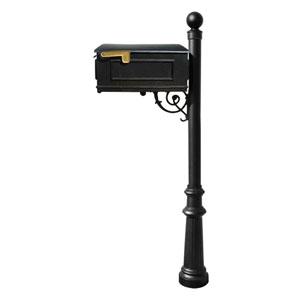 Lewiston Black Mailbox with Post, Fluted Base and Ball Finial