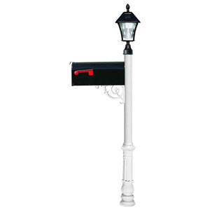 Lewiston Post with Economy 1 Mailbox, Ornate Base in White Color with Black Solar Lamp